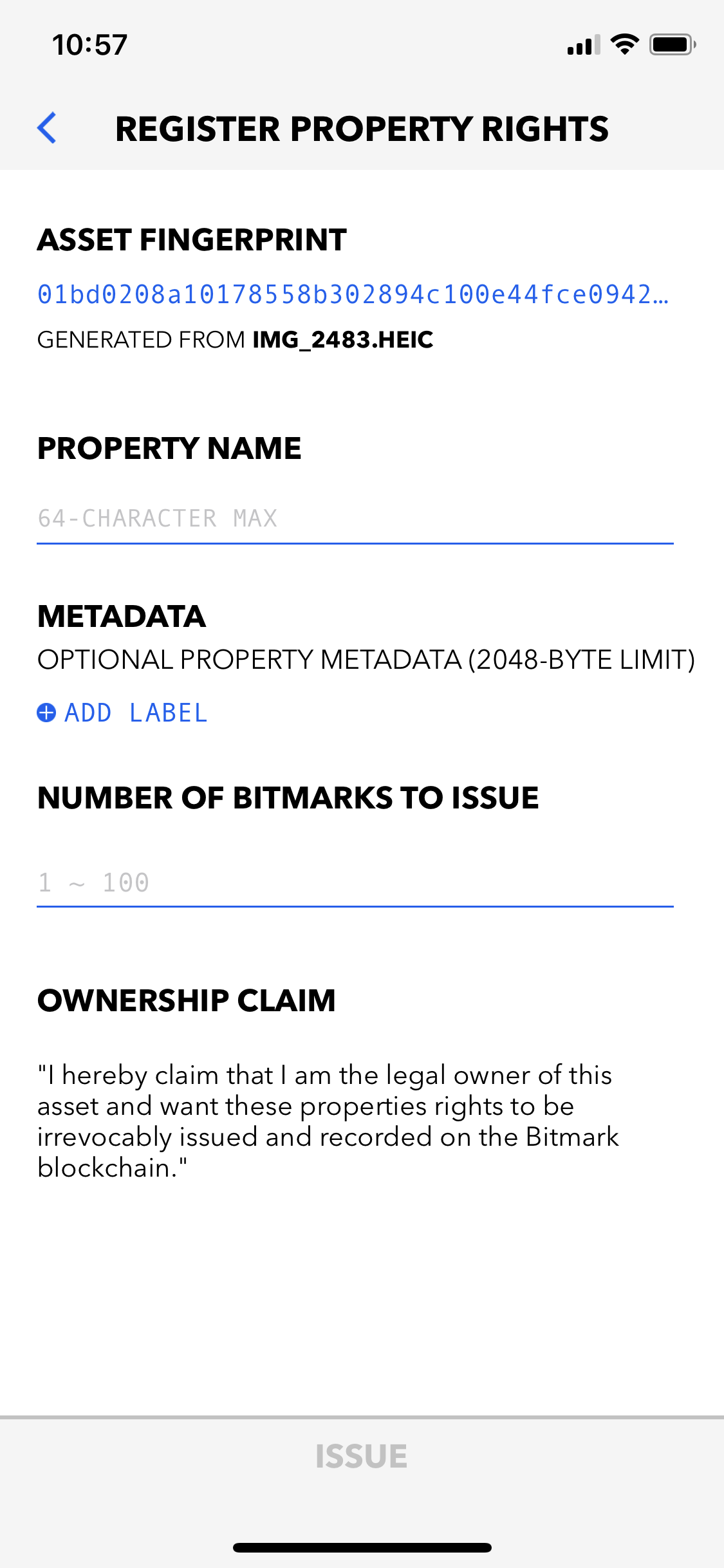 Register Property Rights screen